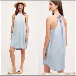 Cloth &Stone Blue Chambray High Tide Halter Dress